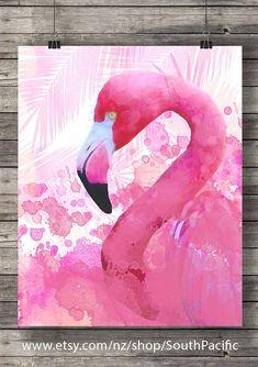 Watercolor pink flamingo ~ printable, digital download #ad #etsyseller #printable #wallart #flamingos