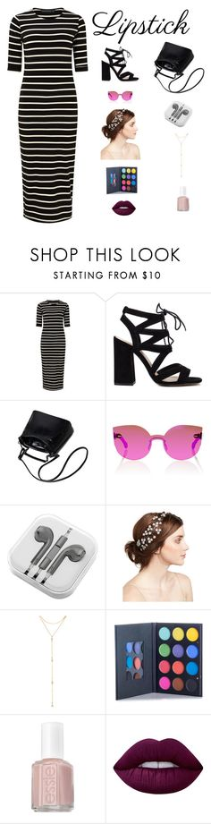 """LIPSTICK"" by sofiy112 ❤ liked on Polyvore featuring beauty, Sugarhill Boutique, RetroSuperFuture, PhunkeeTree, Jennifer Behr, Fragments, Essie and Lime Crime"