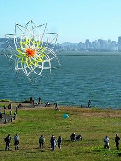 This kite was made by the owners at home using fiberglass and rip-stop nylon.    photo:  via Geoff (Sydney) at Berkeley Marina, California, USA