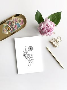 Line Drawing Flowers Postcard Mini Picture Bouqets, My Flower, Line Drawing, Watercolor Flowers, Mini, Art Photography, Poster, Greeting Cards, Etsy