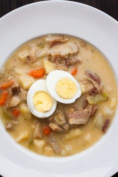 """Recipe and Photos courtesy of Russ Crandall, The Domestic Man This dish is a traditional Polish Easter Soup called Zurek (also often referred to as Bialy Barszcz – """"White Borscht""""). The soup combines pork (kielbasa sausage, ham, or bacon), boiled… Ham Recipes, Easter Recipes, Paleo Recipes, Soup Recipes, Cooking Recipes, Slovak Recipes, Ukrainian Recipes, Savoury Recipes, Chili Recipes"""