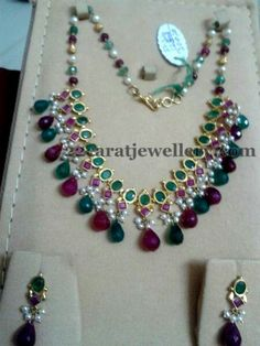 Combination of ruby,emerald and pearl