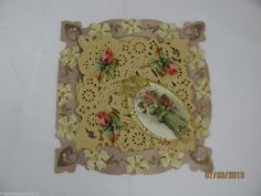 antique victorian valentine day card layered die cut lace roses woman