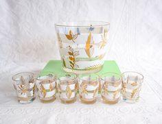 Mid Century Barware, Glass Ice Bucket and Shot Glasses, Vintage Bar Set