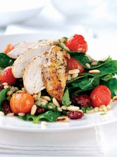 Baby Spinach, Chicken and Pine Nut Barley Salad   Marie Claire