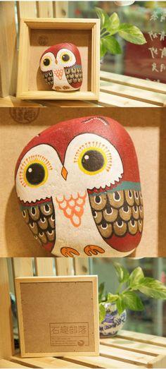 原创手绘石头 盒装红头猫头鹰 家居摆件 小礼物-淘宝网