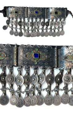 Morocco | Diadem from Tiznit.  Silver enameling, with nice patina, on leather | Late 19th century | POR