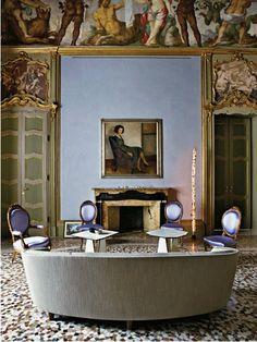 Lavender, chairs as sentinels, Giorgio Armani's Palazzo Milan