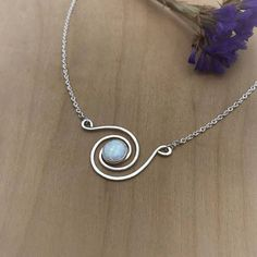 Opal Spiral Necklace Argentium Sterling Silver Swirl Pendant #WireJewelry