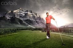 Portrait of a golfer at sunset