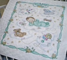 """Bucilla """"Sweet Dreams"""" Crib Cover Stamped Cross Stitch Kit Cross Stitch Baby Blanket, Quilt Kits, Stitch Kit, Baby Quilts, Sweet Dreams, Cribs, Quilting, 1, Reading"""