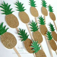 Buy Various Fun Designs of Tropical Coconuts/Hibiscus Cupcake Toppers for Birthday/Events/Party sets of 12 (Pineapple) - Pineapple - and Find More Birthday Cake Decorations enjoy up to off. Aloha Party, Luau Party, Flamingo Party, Luau Birthday, Birthday Parties, Birthday Cake, Fete Marie, Pineapple Cupcakes, Gold Pineapple