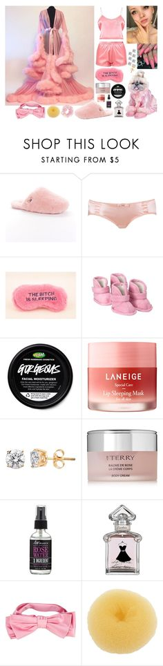 """""""lilou cavalier + moxie, a bedtime concept"""" by kinathegreat ❤ liked on Polyvore featuring UGG Australia, Old Navy, Laneige, By Terry, S.W. Basics of Brooklyn, Guerlain, Gucci and LULU"""