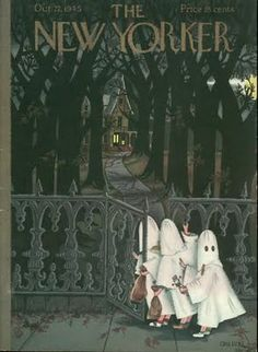 The spooktastically charming October 1945 cover of The New Yorker magazine. #vintage #1940s #Halloween