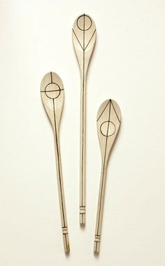 3 wooden kitchen spoons / utensils // COSMOS by AWAYSAWAY on Etsy, $45.00