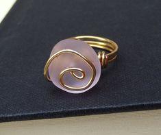 Pink Sea Glass Ring:  24K Gold Swirl Spiral by SherryKayDesigns