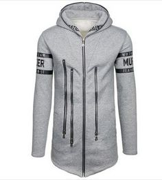 505c4212f54e4 New Arrival Mens Grey Zipper Hooded Sweatshirt Hooded Sweatshirts