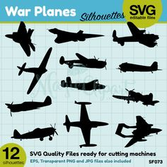 COUPON SALE War Planes Silhouettes, Silhouette files, svg files, png jpg eps, instant download, SF073
