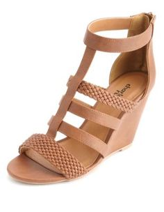 braided t-strap gladiator wedge sandals | Charlotte Russe