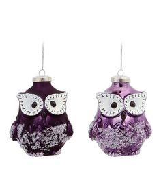 Take a look at the Plum & Lilac Owl Ornament Set on #zulily today!