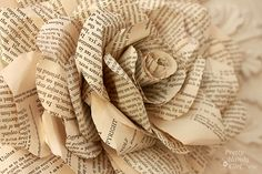 Flowers made of book pages | Book Pages to Paper Posies | All Things Fulfilling