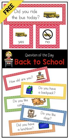 FREE: Question of the Day: Get to Know You (Pocket Chart Cards) FREE back-to-school questions of the day for preschool, kindergarten, and first grade – perfect for attendance and graphing! Preschool Literacy, Free Preschool, Preschool Ideas, Teach Preschool, Beginning Of The School Year, First Day Of School, Future School, Pre School, High School