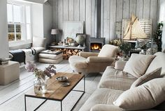 """A Living Room the Color of the Winter Sky -- Love this relaxed and elegant look! See how you can shop the look here on """"Room Crush: Serene Gray Living Room """" over on the One Kings Lane Style Guide!"""