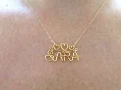 Disney Style Name Necklace, With Heart Crown,14K Gold Filled Chain, Personalized Name, Girls Name, Personalized Gifts for Girls, Under 25