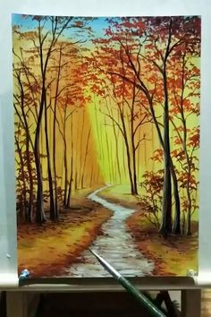 Canvas Painting Tutorials, Diy Canvas Art, Canvas Artwork, Acrylic Painting Lessons, Forest Painting, Oil Painting Trees, Forest Art, Art Oil Paintings, Road Painting