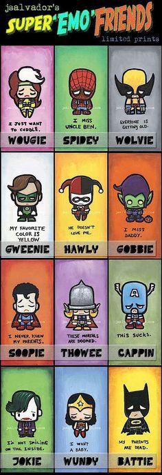 Super Emo Friends. Poor super friends :/