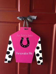 Items Similar To Jockey Silk Cutout Door Hanger On Etsy