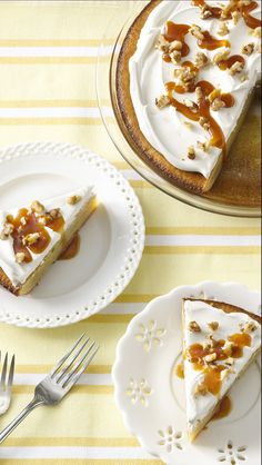 Impossibly Easy Banana Custard Pie - Warm caramel topping adds a special touch!
