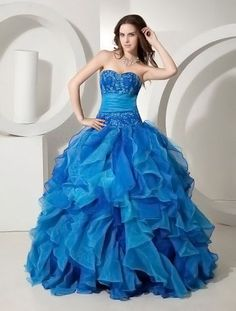 Royal Blue Tulle Strapless Floor Length Princess Prom Dress