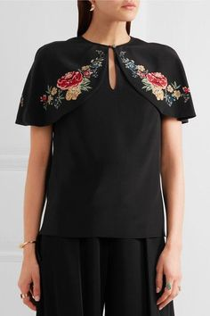 Vilshenko - Lily Rose Cape-effect Floral-print Silk Crepe De Chine Top - Black - UK10
