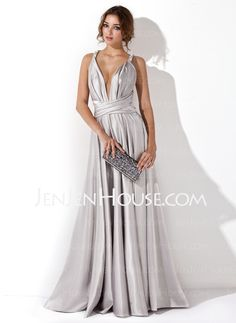 Evening Dresses - $124.99 - A-Line/Princess V-neck Floor-Length Charmeuse Evening Dress With Ruffle (017020657) http://jenjenhouse.com/A-Line-Princess-V-Neck-Floor-Length-Charmeuse-Evening-Dress-With-Ruffle-017020657-g20657