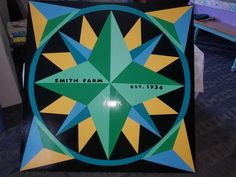 Mariner's Compass Barn Quilt. Colorful barn quilt. Barn Quilt Square. 4'x4' Quilt blocks.