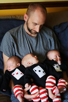 "Three of a Kind, 3 Aces Playing Cards Gift for triplets, ""Daddy's winning hand"" triplet bodysuits set on Etsy, $69.00"