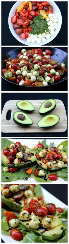 Caprese stuffed avocado- the monounsaturated fats in avocado do wonders for your skin.