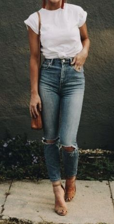 Casual outfit. ripped jeans, heels, white t shirt