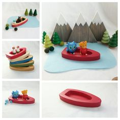Red Wood Boat toy pretend open-ended storytelling fantasy storybook fairytale Dollhouse unisex train table make believe play mat accessory by MyBigWorld2015 on Etsy