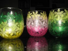 Flower cut-out tissue paper votives in our colors