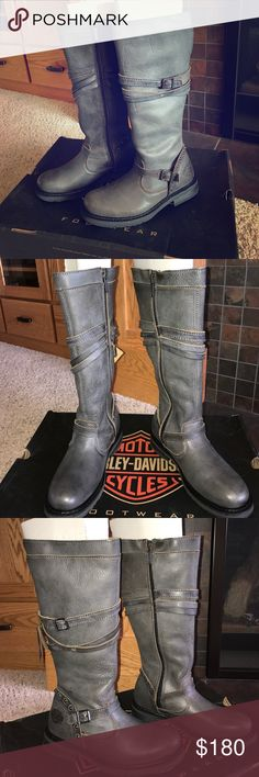 Women's Harley boots NWT stunning gray boots. See pictures for description Harley-Davidson Shoes Combat & Moto Boots