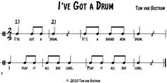 'I've Got a Drum' Canon for Hand Drums – Tom's Orff Arrangements Preschool Music, Music Activities, Teaching Music, Elementary Music Lessons, Middle School Music, Music Lesson Plans, Music Worksheets, Drum Lessons, Partition