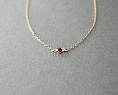 Gold Tiny Garnet Necklace - January birthstone necklace, minimalist classic garnet gem jewelry on Etsy, 214:56kr