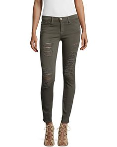 Le+Color+Rip+Skinny+Distressed+Jeans,+Forrest+by+FRAME+at+Neiman+Marcus.