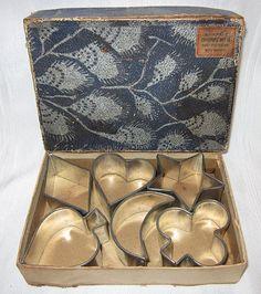Primitive Original Box Four Vintage  Antique Metal Cookie Cutters Kitchen Decor