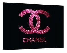 Pink and black Glitter Chanel logo Canvas - Typography - Wall Art - Print Poster - Modern Decor - Chanel logo - purple glitter chanel