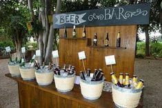 Boda buffet or a a bottled soda bar 40th Birthday Parties, 40th Birthday Ideas For Men, Mexican Party, Beer Bar, Partys, Bar Drinks, Rustic Wedding, Buffet Wedding, Wedding Decorations