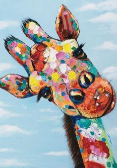 Tableau Girafe POP ART Peinture acrylique - Hobbies paining body for kids and adult Giraffe Painting, Giraffe Art, Diy Painting, Painting Prints, Watercolor Paintings, Canvas Prints, Abstract Paintings, Art Pop, Colorful Paintings