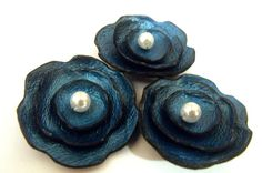 Jewelry supplies leather flowers 3 pcs by HMCreativeSupplies, $6.90